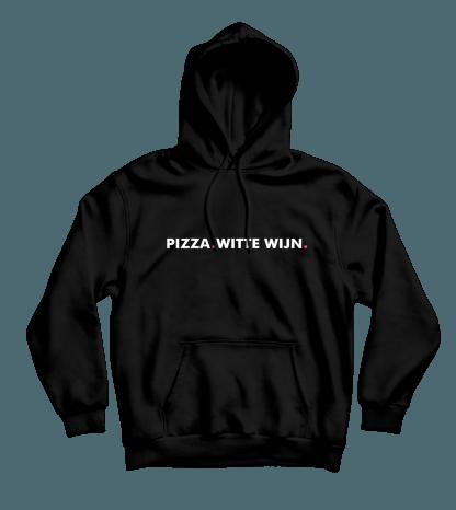 pizza witte wijn hoodie zwart
