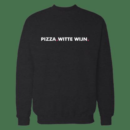 pizza witte wijn sweatshirt zwart