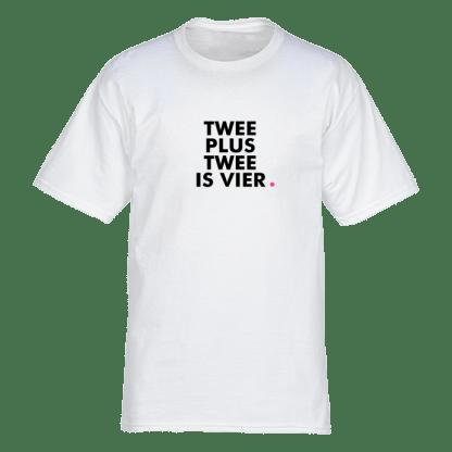 Twee plus twee is vier tshirt wit